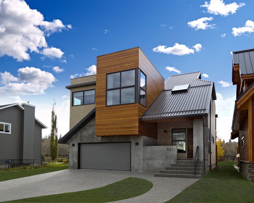 sikkens exterior house stain. example of a trendy wood exterior home design in edmonton sikkens house stain