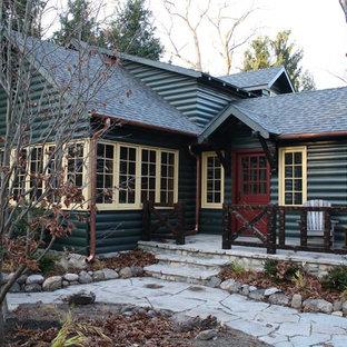 Inspiration för rustika gröna trähus