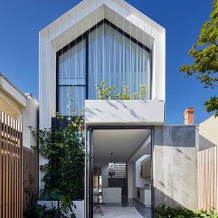 Idéer för funkis vita hus, med två våningar, glasfasad, sadeltak och tak i metall