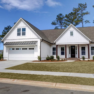Transitional white two-story exterior home idea in Other