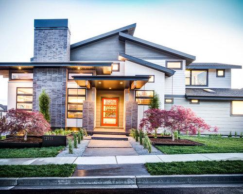 Klassische h user mit pultdach ideen design bilder houzz for Klassisches einfamilienhaus