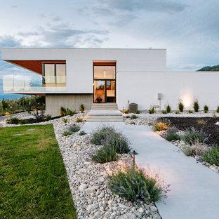 Esempio della facciata di una casa unifamiliare bianca moderna a piani sfalsati con rivestimento in stucco e tetto piano