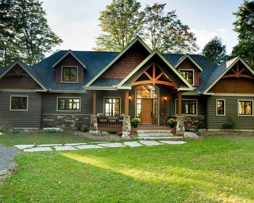 Craftsman gable roof home design ideas remodels photos Craftsman roofing