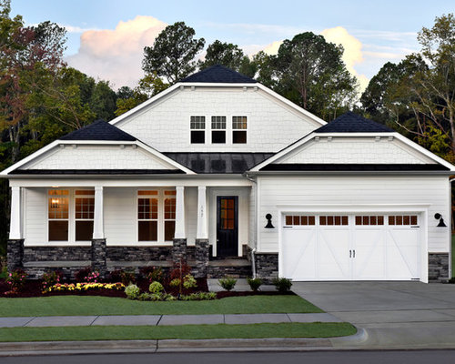 country white two story gable roof photo in dc metro - Exterior House Color Schemes