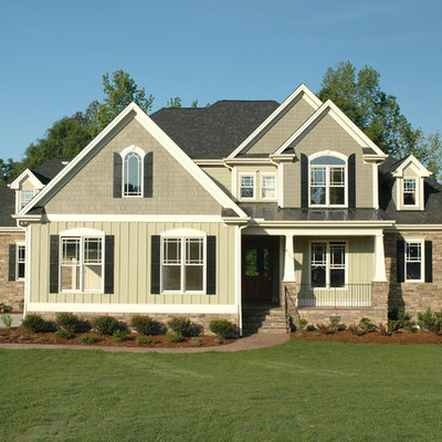 Arts and crafts green exterior home photo in Raleigh
