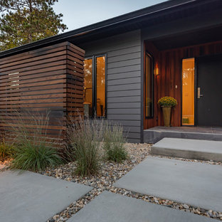 Inspiration for a mid-sized contemporary black one-story concrete fiberboard exterior home remodel in Indianapolis with a shingle roof