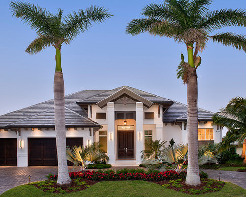 Transitional White One Story Stucco Exterior Home Idea In Miami With A Hip  Roof And