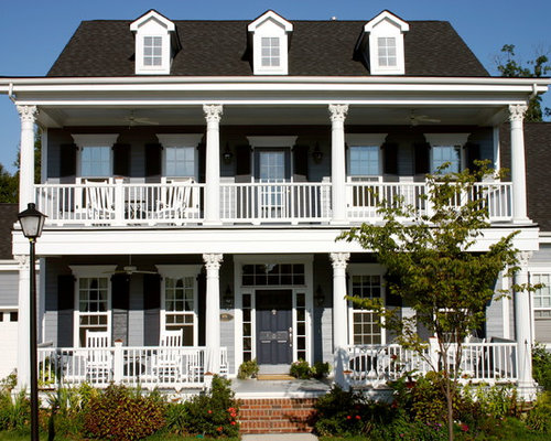 Colonial porch houzz for 2 story house plans with porches