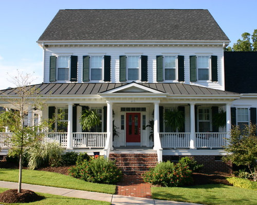 Mid-sized elegant white two-story wood gable roof photo in Charlotte with a - Metal Porch Roof Houzz