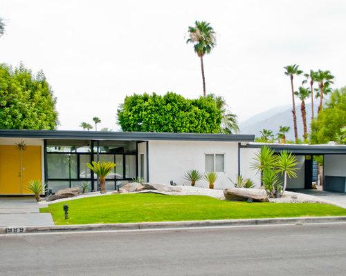 Photos d 39 architecture et id es d co de fa ades de maisons - Maison plain pied deco orientale palm springs ...