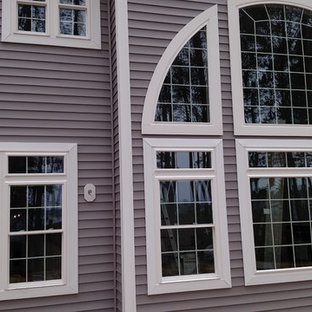 Mid-sized elegant gray two-story mixed siding gable roof photo in Baltimore