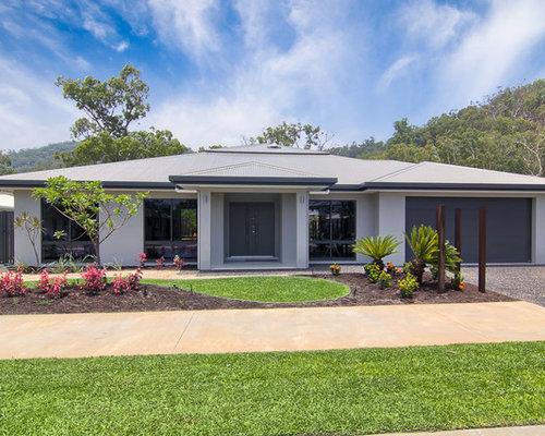Foto e idee per facciate di case facciata di una casa for Case a un piano moderne