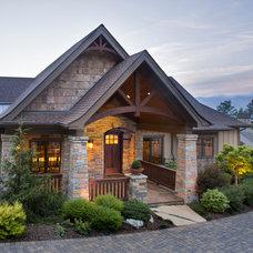 Rustic Exterior by Allard & Roberts Interior Design, Inc