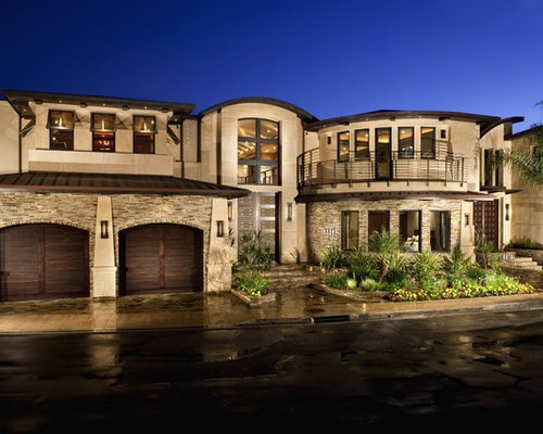 trendy stone exterior home photo in los angeles