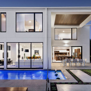 This is an example of a contemporary two-storey white exterior in Melbourne.