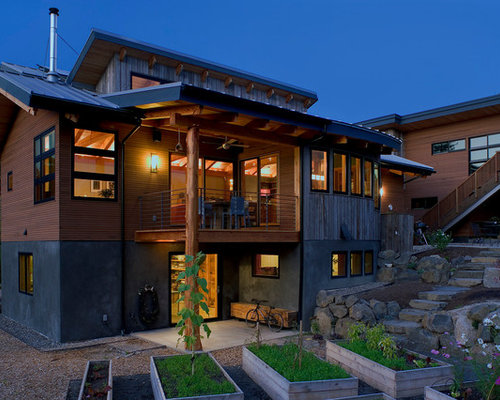 Timberframe exterior home design ideas pictures remodel for Timber frame exteriors