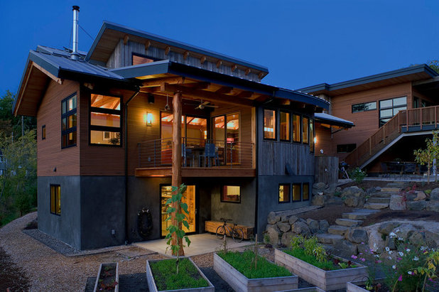 Contemporary Exterior by New Energy Works Timberframers