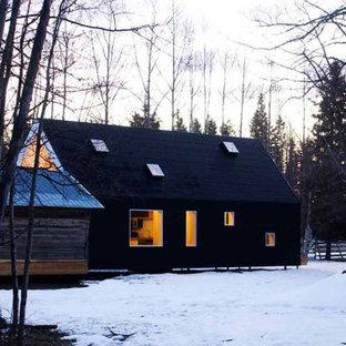 Свежая идея для дизайна: маленький, одноэтажный, черный частный загородный дом в современном стиле с облицовкой из металла, двускатной крышей и металлической крышей - отличное фото интерьера