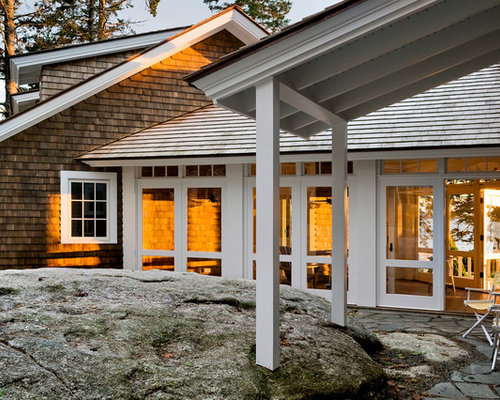 Delightful Example Of A Coastal Wood Exterior Home Design In Portland Maine