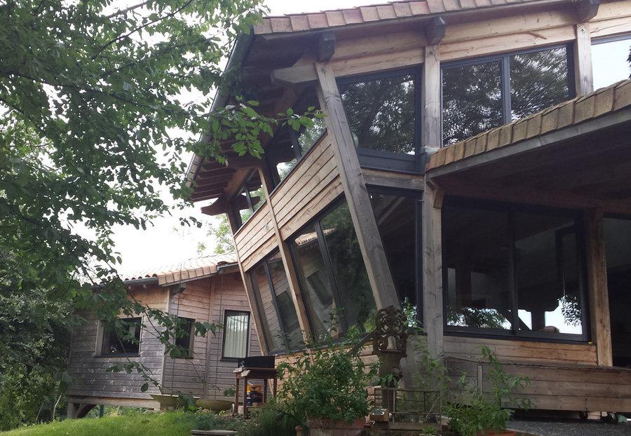 Timber frame hillside extension