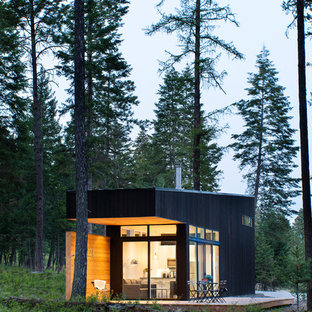 Example of a mountain style black one-story exterior home design in Other