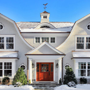 Large Farmhouse White Two Story Wood Exterior Home Idea In New York With A  Gambrel