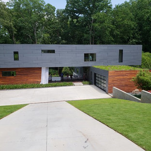 Example of a trendy gray two-story exterior home design in Atlanta