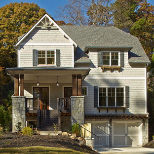 Elegant gray wood exterior home photo in Atlanta