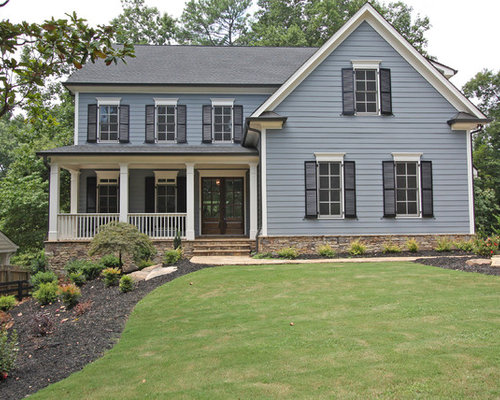 Exterior house colors with black shutters gray paint for Blue house paint colors