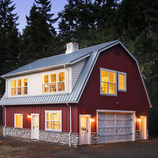 Farmhouse wood exterior home photo in Other with a gambrel roof