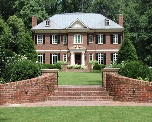 Red brick exterior with shutters houzz - Red brick house black shutters ...