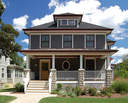 Lovely Example Of A Classic Two Story Exterior Home Design In Chicago With A Hip  Roof