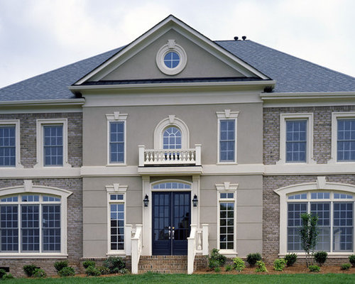 Brick with stone accents houzz for Brick and stone house facades