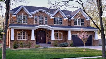 Transitional brick house