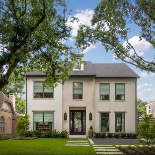 Inspiration for a transitional gray three-story stucco exterior home remodel in Dallas