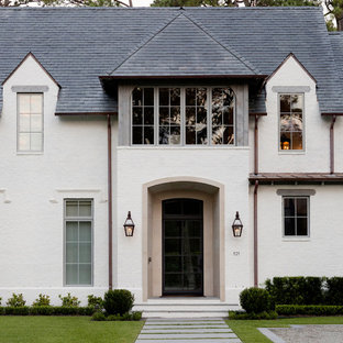 Transitional Home with Welcoming Gas Lit Entry