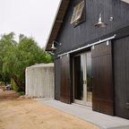 Sliding Red Barn Door Traditional Exterior Los