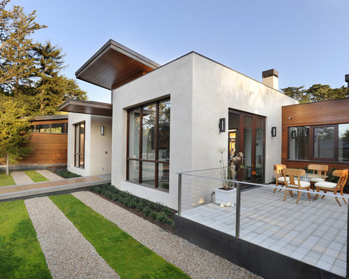 Example Of A Trendy Gray One Story Exterior Home Design In San Francisco
