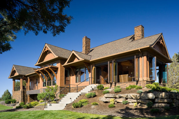 Rustic Exterior by Alan Mascord Design Associates Inc
