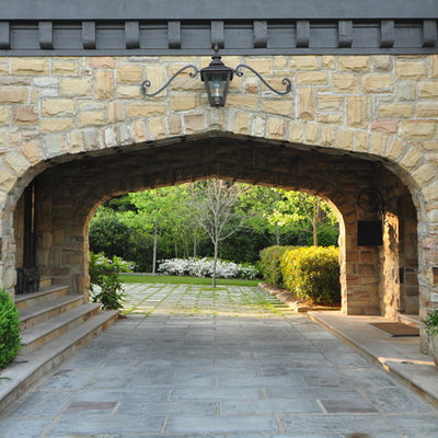 Inspiration for a timeless stone exterior home remodel in Birmingham