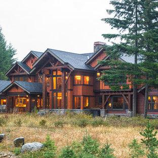 Rustic exterior home idea in Seattle