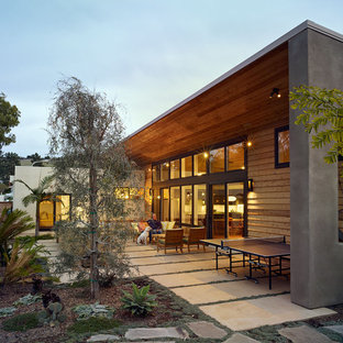 Example of a minimalist one-story exterior home design in Orange County