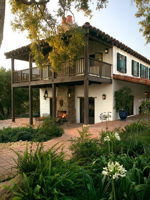 Two story balcony houzz for Two story house with balcony