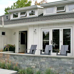Inspiration for a mid-sized transitional white one-story wood exterior home remodel in San Francisco