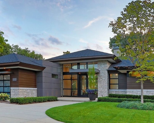 Modern Exterior Design Ideas Renovations Photos with a Hip Roof