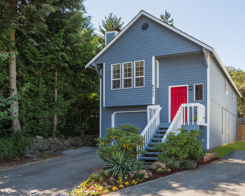 Trendy Gray Two Story Exterior Home Photo In Seattle With A Gable Roof Part 96