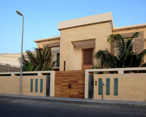 Front Elevation Of House Without Balcony : Villa boundary wall elevation houzz