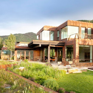 Large minimalist brown two-story metal exterior home photo in Denver