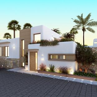 Großes, Weißes Mediterranes Haus mit Putzfassade und Flachdach in Alicante-Costa Blanca