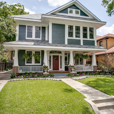 Large arts and crafts gray three-story concrete fiberboard gable roof photo in Dallas